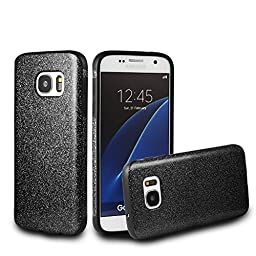 Galaxy S7 Edge Case,Inspirationc® Beauty Luxury Hybrid Glitter Bling Soft Shiny Sparkling with Crystal Rhinestone Cover Case for Samsung Galaxy S7 Edge--Black