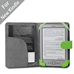 Acase(TM) Classic Leather Case (Apple Green) for 4th Generation 6&quot; Kindle Wi-Fi w/o Keyboard
