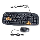 Warwolf キーボード&マウスセット USB有線キーボード ビジネスキーボード&1200DPI 3D光学式マウス PCノートパソコンのデスクトップ用【並行輸入品】