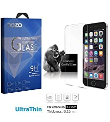 iPhone 6S Screen Protector Glass , TOZO [0.15mm] Ultrathin [Corning Gorilla] Premium Tempered Glass [3D Touch Compatible] 9H Hardness 2.5D Edge [Super Clear] Screen [Lifetime Warranty] 0.15mm