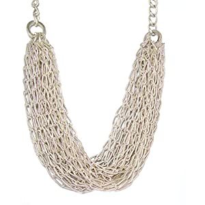 Just Give Me Jewels Silver Plated Multi-Strand Textured Chain Statement Necklace