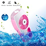 D-FantiX Handheld USB Misting Fan Portable Mini Water Spray Fan with Personal Cooling Mist Humidifier Battery / USB Operated for Beauty, Home, Office and Travel Mother's Day Gift (Pink)