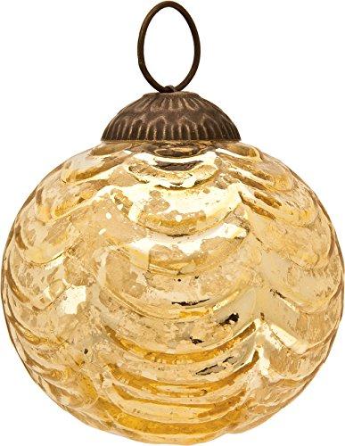 Luna Bazaar Large Mercury Glass Ornament (Nola Design, Wave Ball Motif, 3-Inch, Gold) - Vintage-Style Decoration