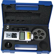 "Shimpo DT-205LR-S12 Handheld Tachometer with 12"" Wheel, LCD Display, +/-1rpm Accuracy, 6 - 99999rpm Range"