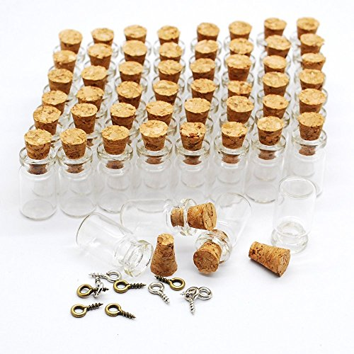 Eforstore 50pcs 0.5ml Vials Clear Glass Bottles with Corks & 10pcs Eye Screws Miniature Glass Bottle with Cork Empty Sample Jars Small 18x10mm (Charm Bottles compare prices)