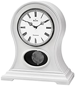 allaire antique white mantel clock with