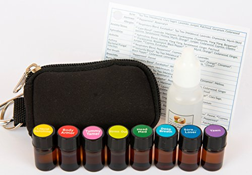 Essential Oil Pocket Doctor 3® Filled Keychain Kit w/ Artisan Blends for Respiratory, Digestion, Immunity, Headache, Anti-Stress, Sleep, Citrus Mood Lift, Sore Muscle in (8) 2ml Drams by Davina®