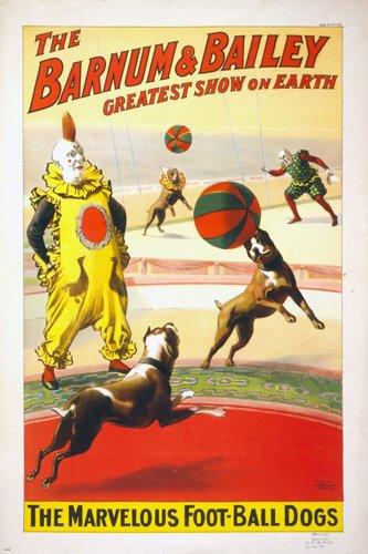 BARNUM & BAILEY The Marvelous Football Dogs VINTAGE CIRCUS POSTER 24x36 Rare 0