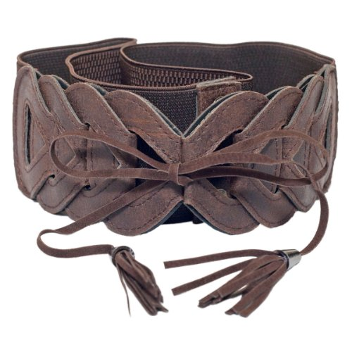 eVogues Plus Size Braided Look Elastic Fashion Belt Brown - One Size Plus