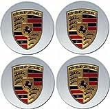 4 NEW Porsche Silver Wheel Center Cap Boxster Cayenne 911 993 996 997 HUB Racing