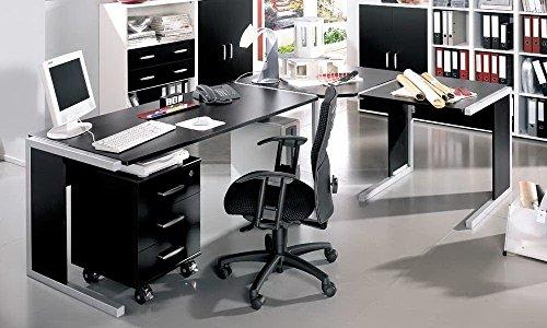 4-tlg-Schreibtischkombination-in-schwarz-bestehend-aus-2-x-Schreibtisch-Eckplatte-und-Rollcontainer