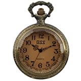 ESS Mens Stainless Steel Case White Dial Amber Front Antique Pocket Watch with Chain WP013