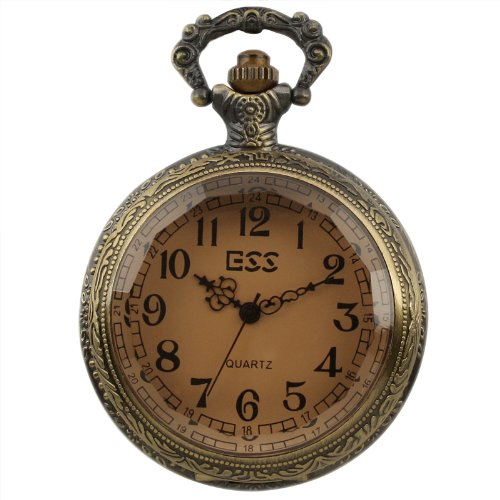 ESS Men's Stainless Steel White Dial Amber Front Antique Pocket Watch with Chain WP013