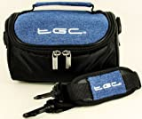 TGC ® Camera Case for Fujifilm FinePix S700 with shoulder strap and Carry Handle (Dreamy Blue Denim & Black)