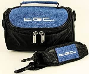 TGC ® Camera Case for Canon PowerShot A810, A1300, SX240 HS, SX260 HS with shoulder strap and Carry Handle (Dreamy Blue Demin & Black)