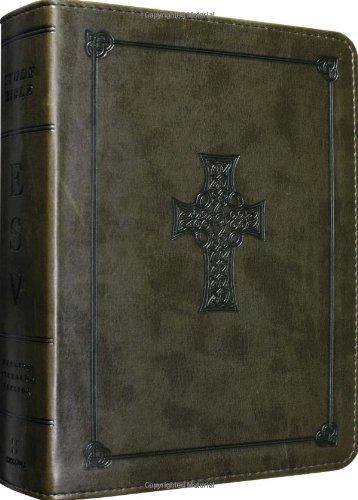 ESV Study Bible, Personal Size (TruTone, Olive, Celtic Cross Design)