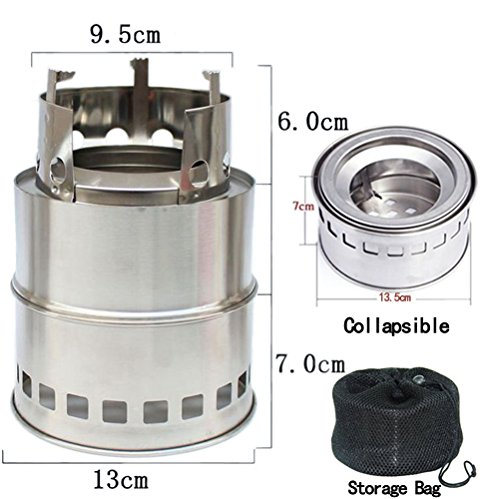 OUSPOTS Camping Stove/ Backpacking Stove -Portable Stainless Steel Camping Stove Lightweight Charcoal Wood Stove Picnic Outdoor Cooking BBQ Hiking ,emergency preparation (Hiking Stove Wood compare prices)