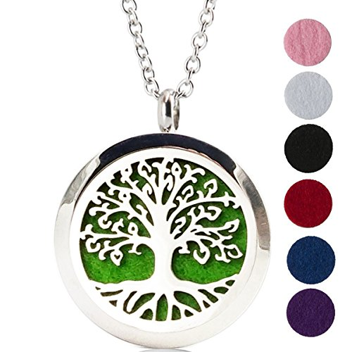 Aromatherapy Essential Oil Diffuser Necklace Tree of Life Pattern Stainless Steel Locket Pendant (Doterra Oils Humidifier compare prices)