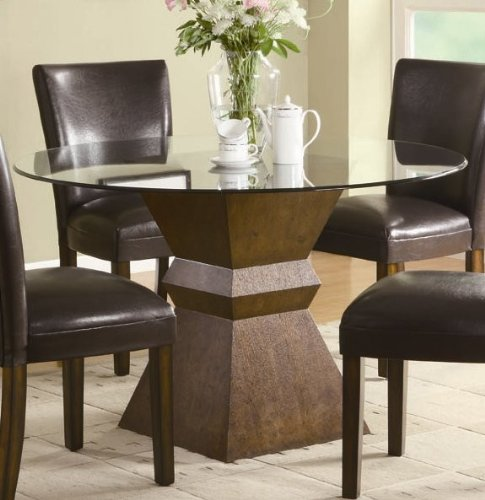 Cheap Round Dining Table with Glass Top in Deep Brown Finish (VF_102800)