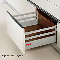 Drawer Box System High Square Rail concealed full extn. Tool Free Assembly & Removal Hydraulic Silent Soft Closing Up Down Left Right adjustments 40Kg Dynamic Load Capacity Silver Grey Finish 350mm Length 14IN
