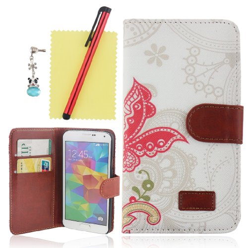Ancerson New Fashion Retro Red Butterfly Colorful Flower Magnetic Magnet Buckle Pu Leather Protective Flip Case Cover Shell Skin With Credit/ Id Card Slots Holes Wallet Slip Stand For Samsung Galaxy S5/ Gs 5 V I9600 At&T G900A/ Sprint G900P/ Verizon G900V