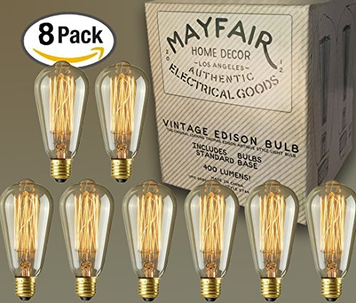 Edison Bulb 40W 8 Pack ST64 Antique Retro Vintage Squirrel Cage Filament Dimmable Warm Light Teardrop Style Replacement Bulbs - Pendant Lighting Chandeliers Lamps String Lights Incandescent 400 (Cute Halloween Yard Decoration Ideas)