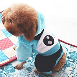 Demarkt Fashion Dog Cat Puppy Fleece Panda Head Print Hoodie Costume Clothes Pet Apparel Superdog Dress Up Pet Supplies (M, Blue)