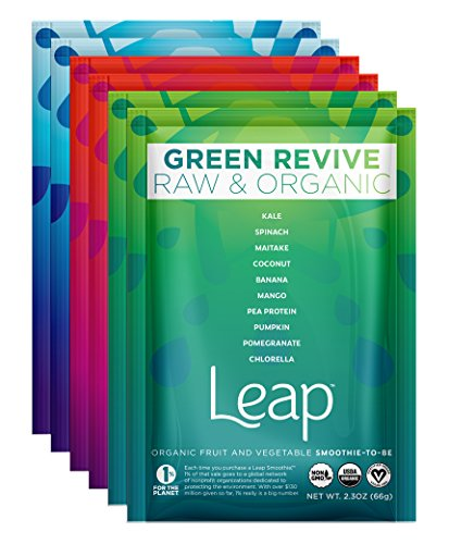 Leap Certified Organic Healthy Fruit & Vegetable Instant Smoothie Powder - Nutritious Raw Non-GMO Superfoods & Natural Vegan Veggie Mix - No Sugar Added - Whole 30 Approved - 6 Pack (Discovery Pack) (Freeze Dried Beet Powder compare prices)