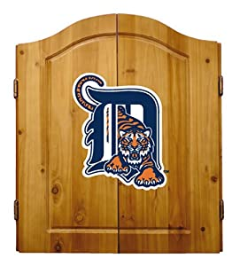 Buy MLB Detroit Tigers Solid Pine Cabinet And Bristle Dartboard Set by Imperial