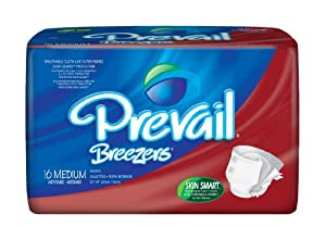 "Breezers By Prevail® Adult Brief , Medium, White, 32""-44"", 6 Bags of 16 (96 Ct.) from First Quality"