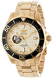 Invicta Men's Automatic Watch with Gold Dial Analogue Display and Gold Stainless Steel Plated Bracelet 13710