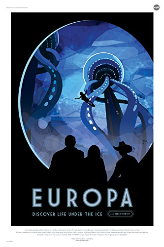 EUROPA-Discover-Life-Under-The-Ice-NASA-JPL-Space-Tourism-Travel-Poster-24-x-36-Unframed