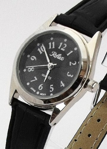 Ladies/Womens New Reflex Watch-Chrome Case (25mm) Black Dial - 18cm Strap (101180LT)