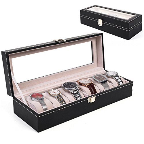 6 Slot Leather Watch Box Display Case Organizer Glass Top Jewelry Storage New (Gold Storage Box With Lid compare prices)