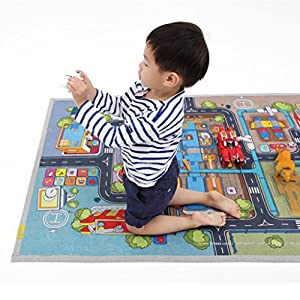 "[LEPAPA] 59.1"" x 39.4"" Baby Kids Toddler Le Bonheur Microfiber Robot Factory Petite Play Mat Carpet for Indoor and Outdoor Use, 3D Graphic, Interactive & Complex Play"