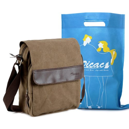 Sale!! Zicac Brown Canvas With Genuine Leather Messenger Bag Case Casual Bags Shoulder Bags For Men ...