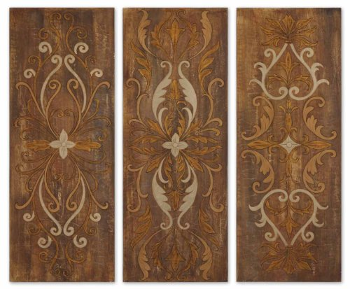 Uttermost Elegant Swirl Panels Wrapped Canvas Print - Set of 3
