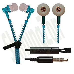 Zipper Design 3.5mm In Ear Earbud Stereo Headset Handsfree Headphone Earphone with Mic For Micromax YU Yureka Note - Bluesky