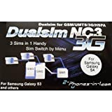 NC3 S4 Triple Sim Adapter for Samsung Galaxy S4 by 2-phones-in-1®
