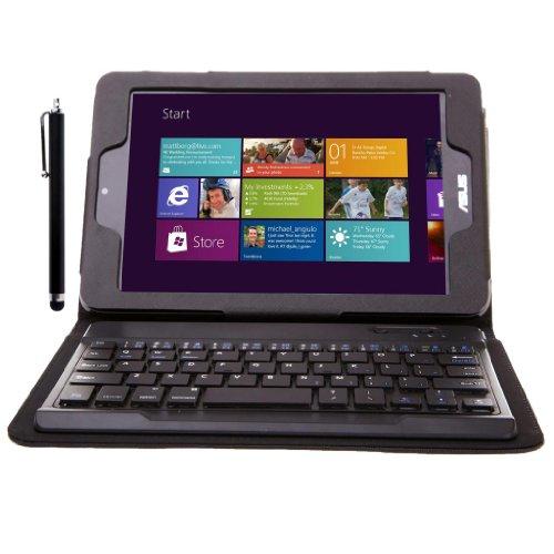 Continu Hohe Qualitä PU Ledertasche Schutzhülle Tasche Hülle mit Bluetooth Tastatur keyboard (QWERTY) für asus m80t + 1 x Touchstift Schwarz