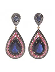 Amethyst By Rahul Popli Blue Gold Plated Stud Earrings