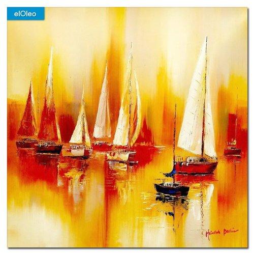 elOleo Segelboote auf dem Gardasee 80×80 Gemälde auf Leinwand handgemalt 83487A günstig