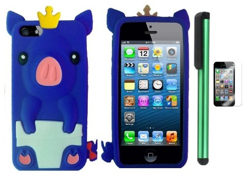 Best  Blue Cute Pig Yellow Crown Silicone Skin Premium Design Protector Soft Cover Case Compatible for Apple Iphone 5 (AT&T, VERIZON, SPRINT) + Screen Protector Film + Combination 1 of New Metal Stylus Touch Screen Pen (4