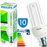 10 x Bayonet Cap 14 Watt Philips GENIE 14w = 60w Bulb B22 Light Bulbs Lamp Low Energy Saver Bulb Lamp Saving CFL Lamps Direct Incandescent Replacement Long Life 10,000 hours