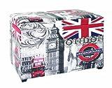 Haku Möbel 30983 - Baule portatutto in legno massello e similpelle, 65 x 40 x 42 cm, motivo immagini di Londra, colore: Multicolore