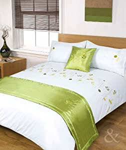 5pc LUXURY EMBROIDERED Duvet Cover Sets - Bedding in a Bag Bed Quilt Cover Set Green ( lime white yellow ) King Size Duvet Cover Set ( kingsize )
