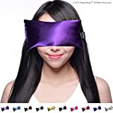 Lavender Eye Pillow - Yoga Eye Pillow for Stress & Migraine Relief w/Free Sleep Mask. Made in USA. Hot or Cold Eye Pillows for Stress Relief, Headaches & Relaxing. By Happy Wraps.