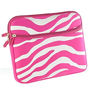 Universal Soft Sleeve Pouch for 8 - 10inch Netbook Laptop - Exotic Safari Hot Pink White Zebra Print with Double Zipper from Luxmo