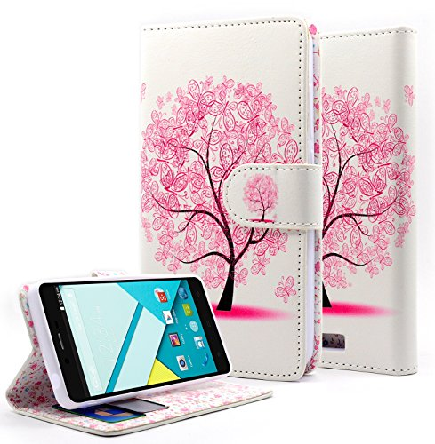 NageBee Dual Use PU Leather Flip Wallet Case for BLU Studio Energy D810L - Wallet Butterfly tree (Blu Energy Studio Case compare prices)