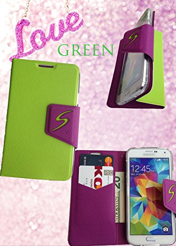 Samsung Galaxy S5 [Green] Cover Premium Pu Leather Flip Case With Id Card / Cash Slot (For Verizon, At&T Sprint, T-Mobile, Unlocked)